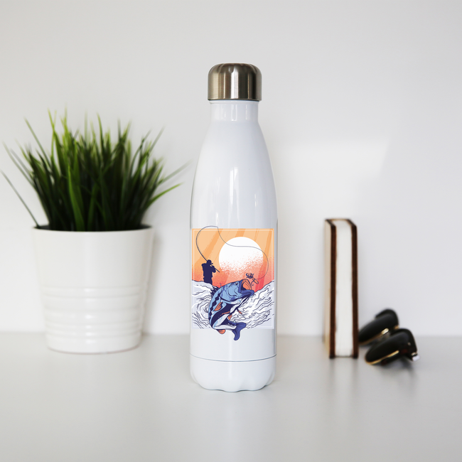 Fisherman illustration water bottle stainless steel reusable