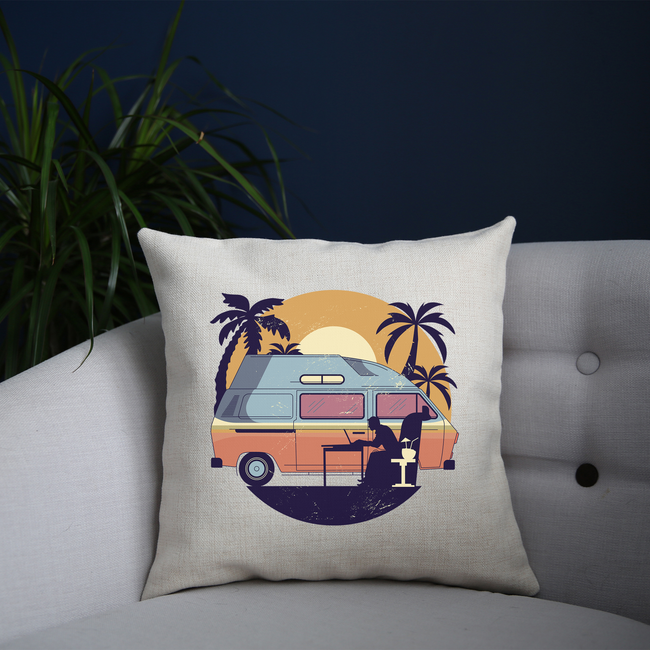 Camper van sunset cushion cover pillowcase linen home decor - Graphic Gear