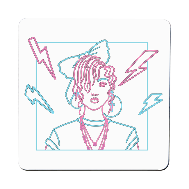80's girl coaster drink mat - Graphic Gear
