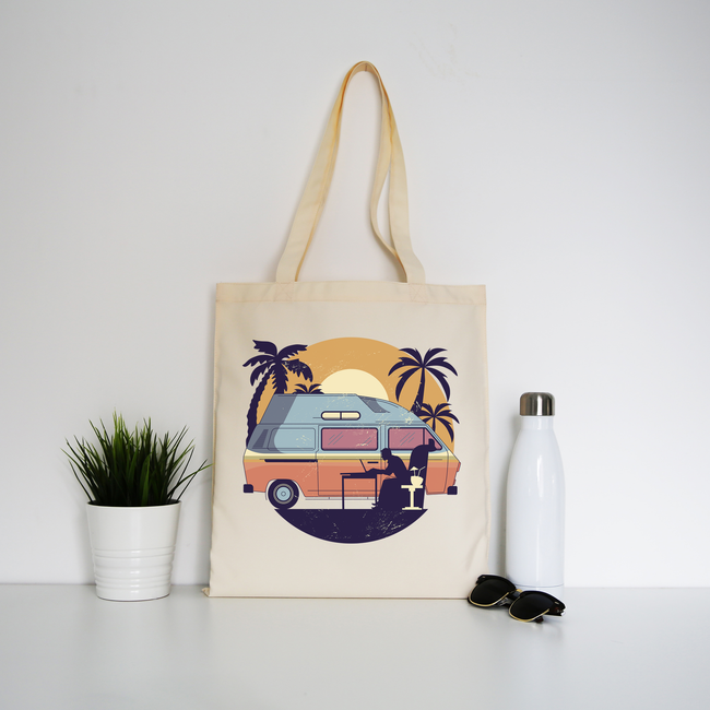 Camper van sunset tote bag canvas shopping - Graphic Gear