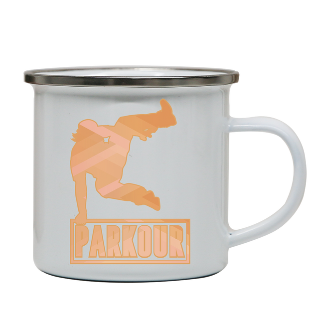Parkour jump enamel camping mug outdoor cup colors - Graphic Gear