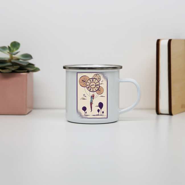 Abstract girl enamel camping mug outdoor cup colors - Graphic Gear