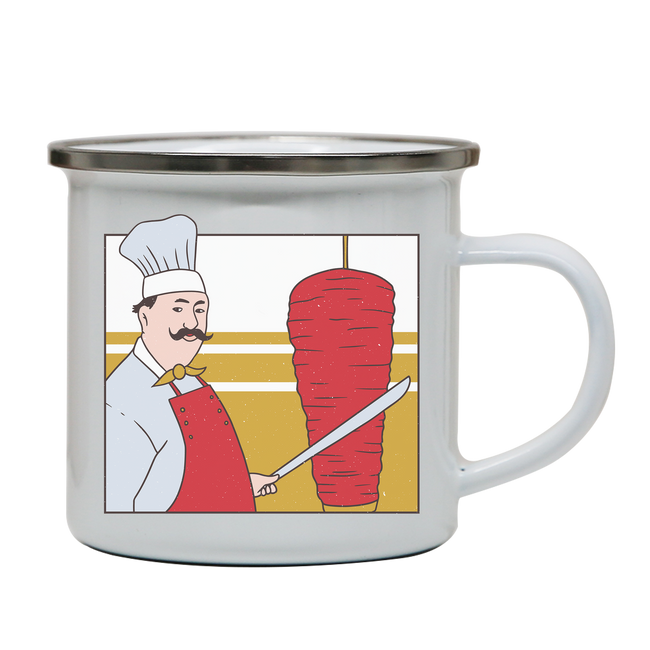 Kebab chef enamel camping mug outdoor cup colors - Graphic Gear