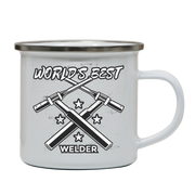 Welder quote enamel camping mug outdoor cup colors