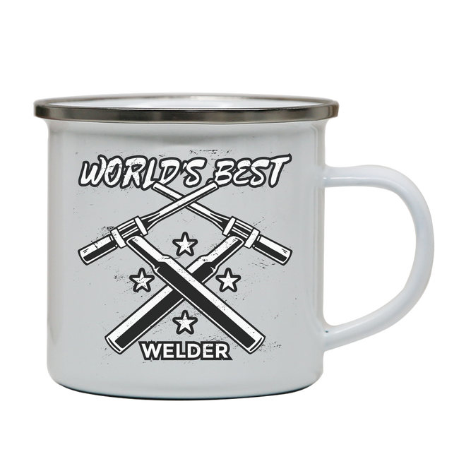 Welder quote enamel camping mug outdoor cup colors - Graphic Gear