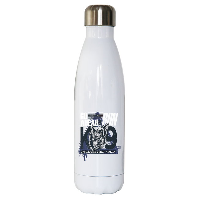 Police dog quote water bottle stainless steel reusable - Graphic Gear