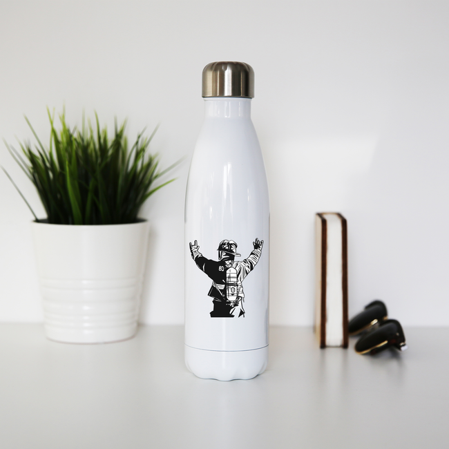 Firefighter rock hands water bottle stainless steel reusable - Graphic Gear