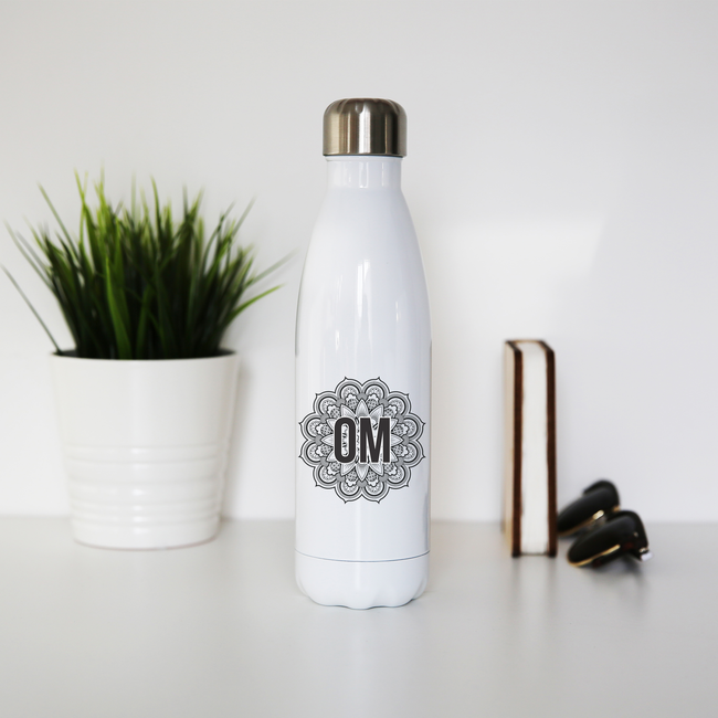 Mandala om ornamental floral water bottle stainless steel reusable