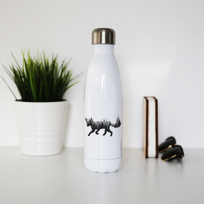 Forest fox animal water bottle stainless steel reusable