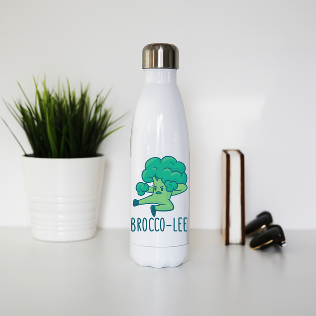 Broccolee funny water bottle stainless steel reusable