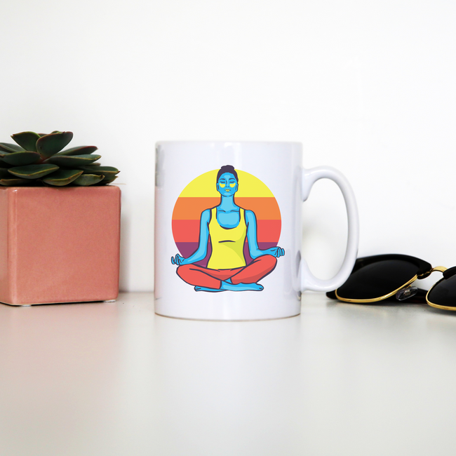 Colorful yoga woman mug coffee tea cup - Graphic Gear