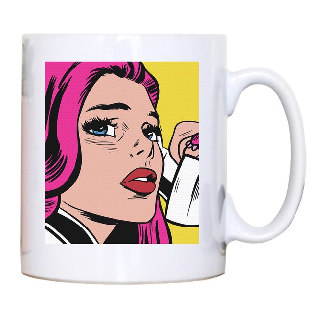 Pop art girl mug coffee tea cup
