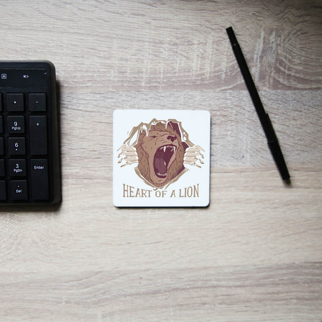 Heart of a lion coaster drink mat - Graphic Gear