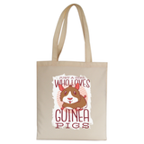 Girl love guinea pigs tote bag canvas shopping