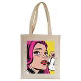 Pop art girl tote bag canvas shopping - Graphic Gear