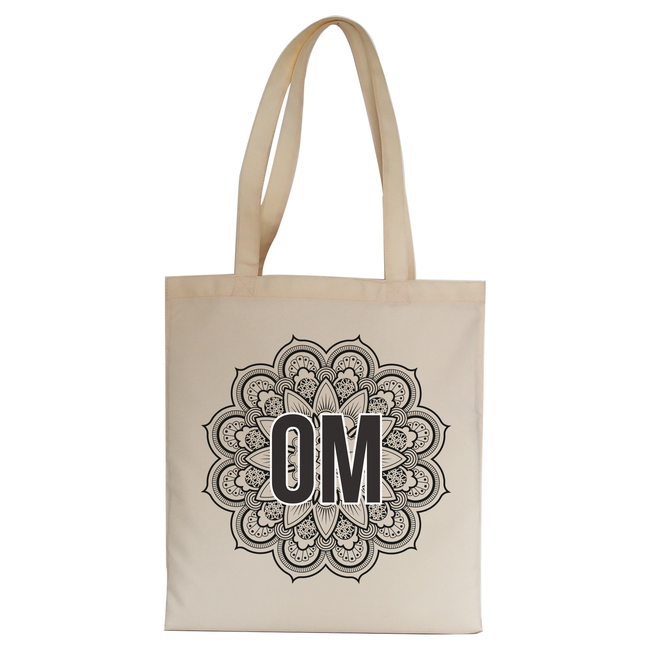Mandala om ornamental floral tote bag canvas shopping - Graphic Gear