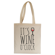 Wine o'clock tote bag canvas shopping