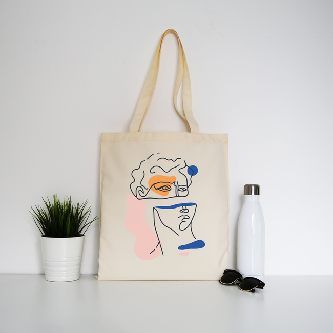 Abstract David head tote bag canvas shopping - Graphic Gear