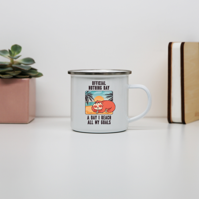 Sloth nothing day enamel camping mug outdoor cup colors - Graphic Gear