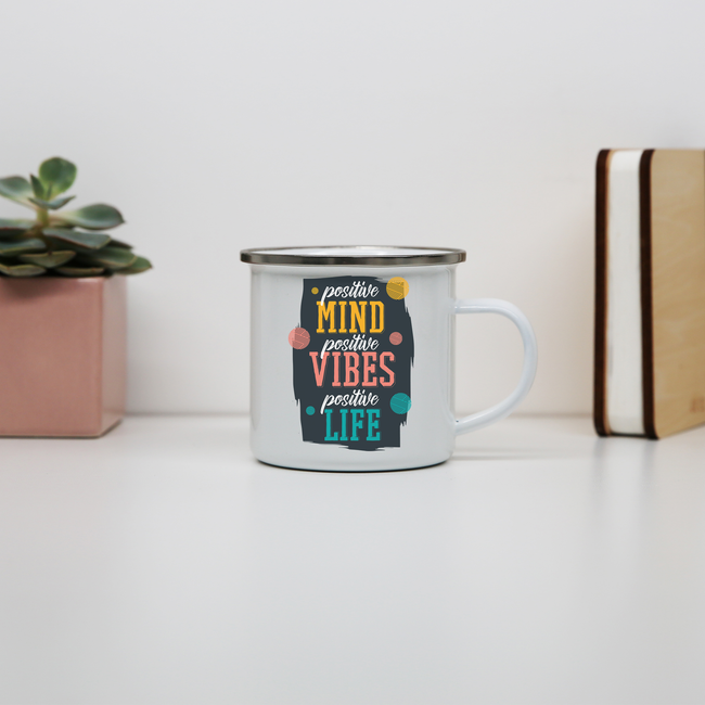 Positive quote enamel camping mug outdoor cup colors - Graphic Gear