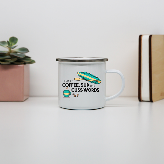 Paddle quote enamel camping mug outdoor cup colors