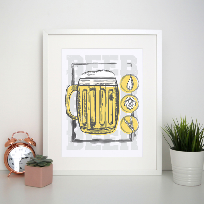 Beer glass drinking print poster wall art decor