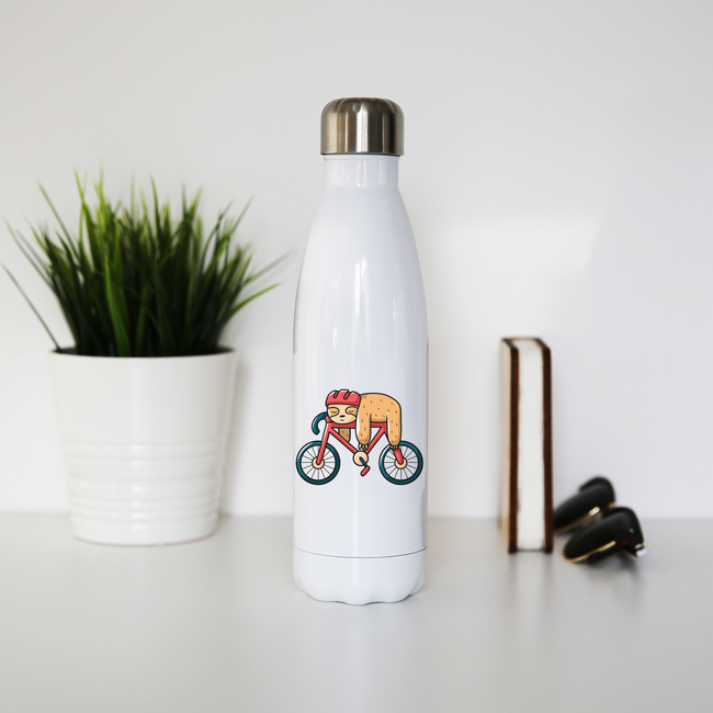 Bike sloth funny water bottle stainless steel reusable - Graphic Gear