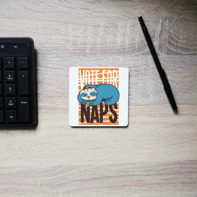 Funny sloth quote napping coaster drink mat - Graphic Gear