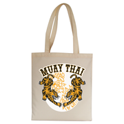 Muay thai tigers tote bag canvas shopping