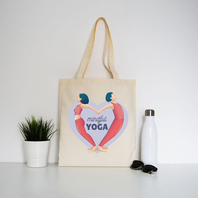 Mindful yoga tote bag canvas shopping
