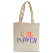 Girl power quote tote bag canvas shopping