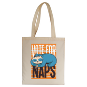 Funny sloth quote napping tote bag canvas shopping