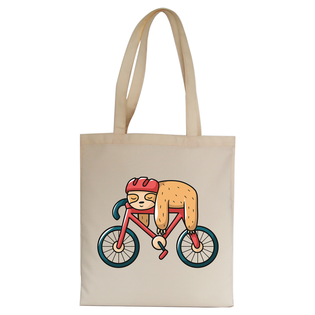 Bike sloth funny tote bag canvas shopping - Graphic Gear