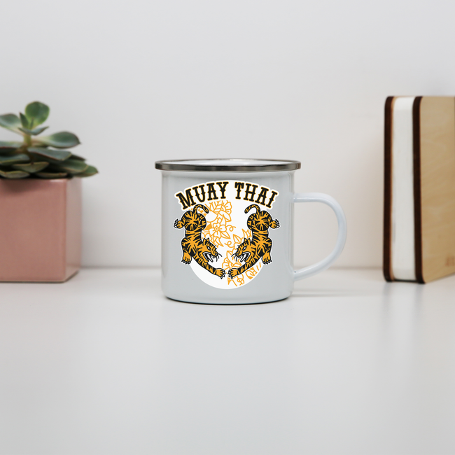 Muay thai tigers enamel camping mug outdoor cup colors