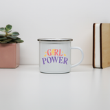 Girl power quote enamel camping mug outdoor cup colors