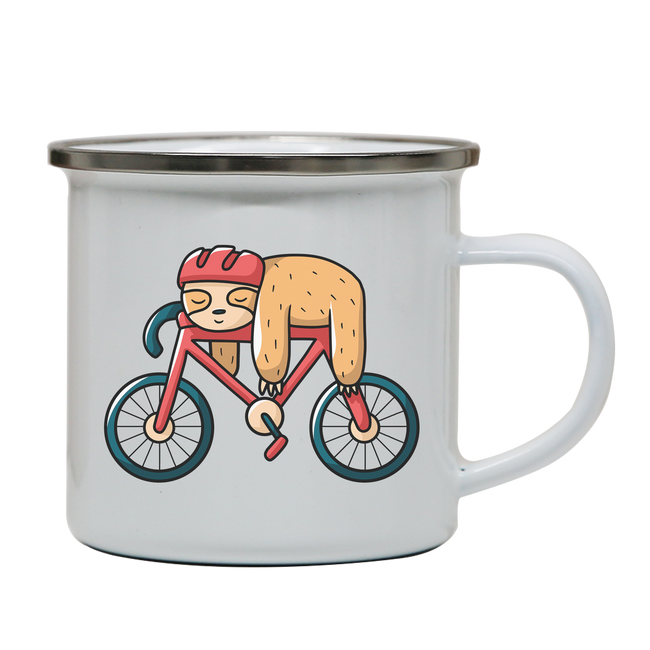 Bike sloth funny enamel camping mug outdoor cup colors