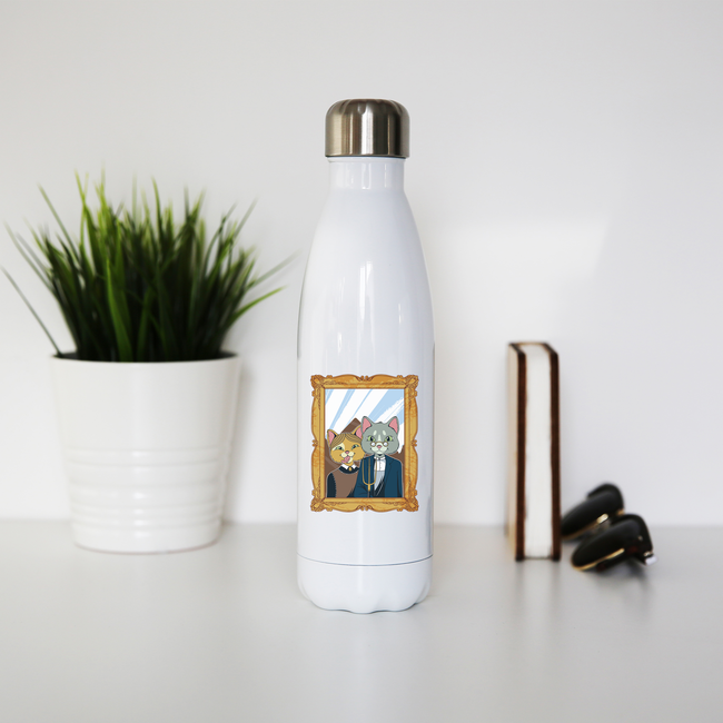 American gothic cat water bottle stainless steel reusable - Graphic Gear
