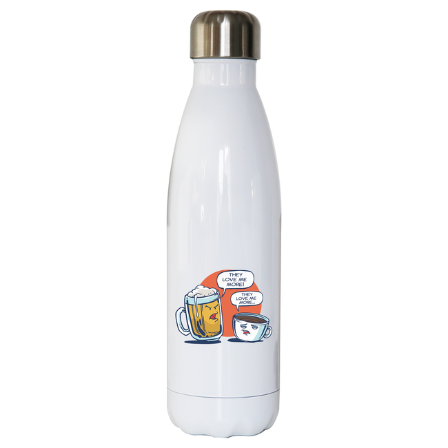 Beer vs coffee water bottle stainless steel reusable - Graphic Gear