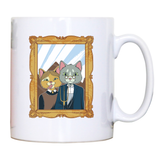 American gothic cat mug coffee tea cup
