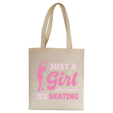 Ice skating love tote bag canvas shopping