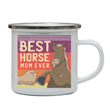 Best horse mom ever enamel camping mug outdoor cup colors