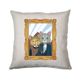 American gothic cat cushion cover pillowcase linen home decor