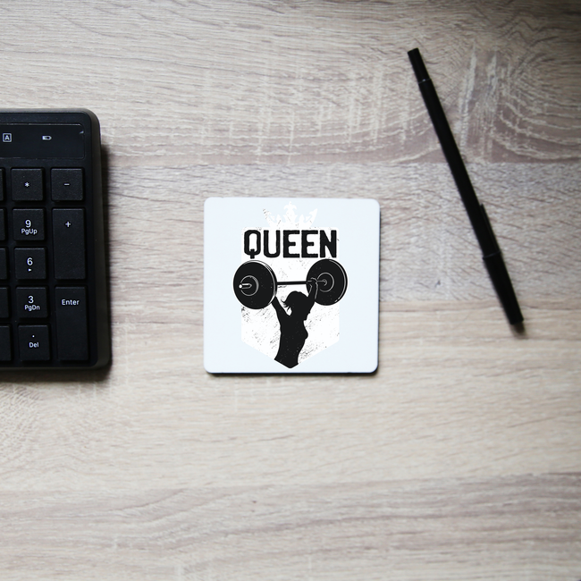 Weightlifting queen coaster drink mat