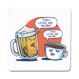 Beer vs coffee coaster drink mat - Graphic Gear
