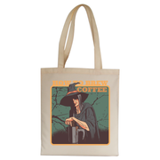 Coffee witch tote bag canvas shopping