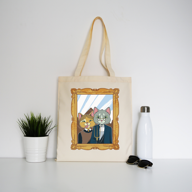 American gothic cat tote bag canvas shopping - Graphic Gear