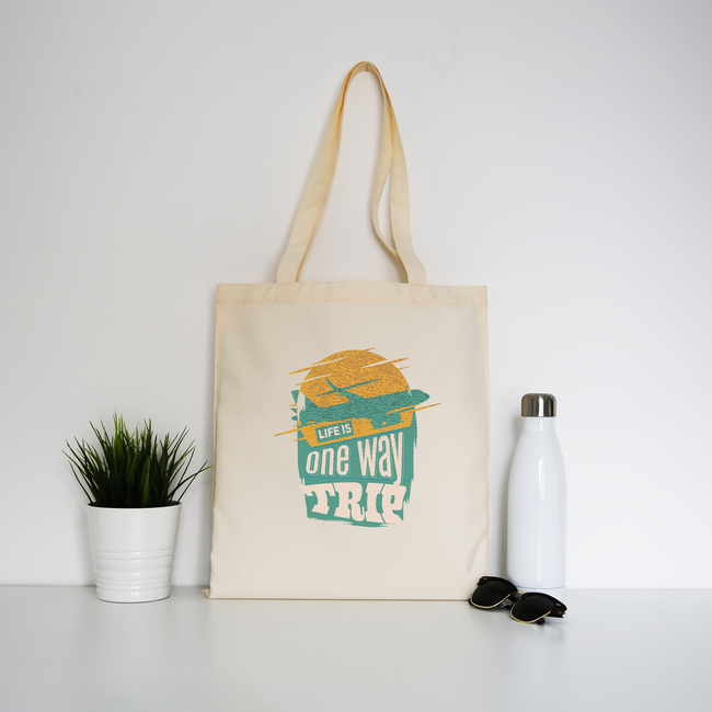 Trip quote tote bag canvas shopping - Graphic Gear