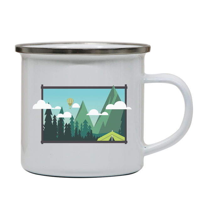 Camp landscape enamel camping mug outdoor cup colors - Graphic Gear
