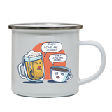 Beer vs coffee enamel camping mug outdoor cup colors - Graphic Gear