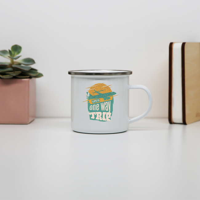 Trip quote enamel camping mug outdoor cup colors - Graphic Gear